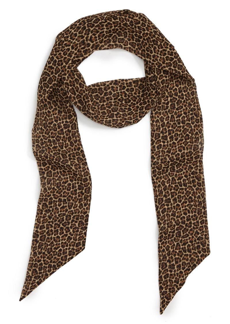 Saint Laurent Lavalliere Silk Leopard Print Scarf