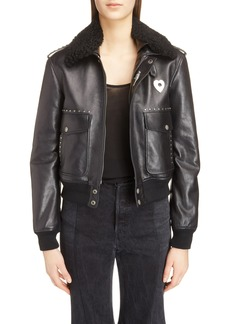 Saint Laurent Leather Flight Jacket with Genuine Shearling Collar