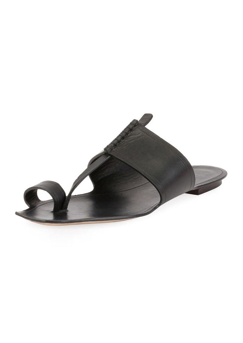 9207edeba Saint Laurent Saint Laurent Leather Toe-Ring Flat Slide Sandal