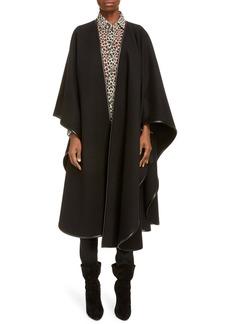 Saint Laurent Leather Trim Oversize Wool & Cashmere Blend Cape