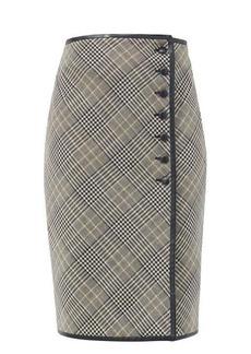 Saint Laurent Leather-trim Prince of Wales-check midi skirt