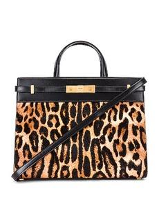 Saint Laurent Leopard Calf Fur Manhattan Shoulder Bag