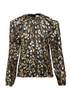 Saint Laurent Padded-shoulder leopard fil coupé blouse