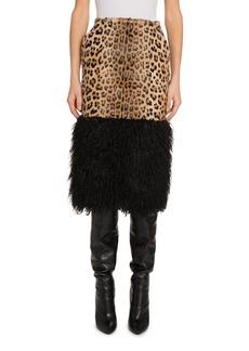 Saint Laurent Leopard Midi Skirt