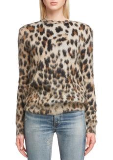 Saint Laurent Leopard Pattern Mohair Sweater