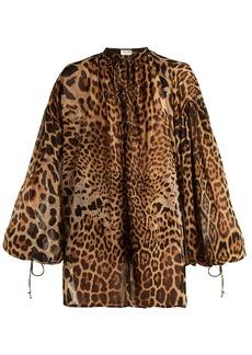 Saint Laurent Leopard-print tie-neck wool dress