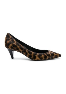 Saint Laurent Leopard Print Pony Hair Charlotte Kitten Heels