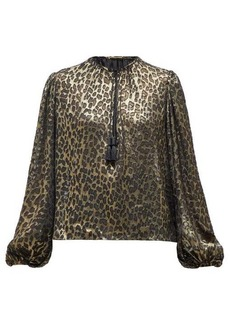Saint Laurent Leopard-print silk-blend lamé blouse