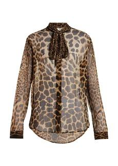 Saint Laurent Leopard-print silk-georgette blouse