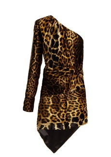 Saint Laurent Leopard-print velvet mini dress