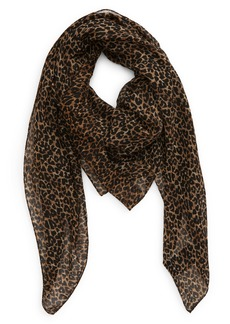 Saint Laurent Leopard Print Wool Scarf