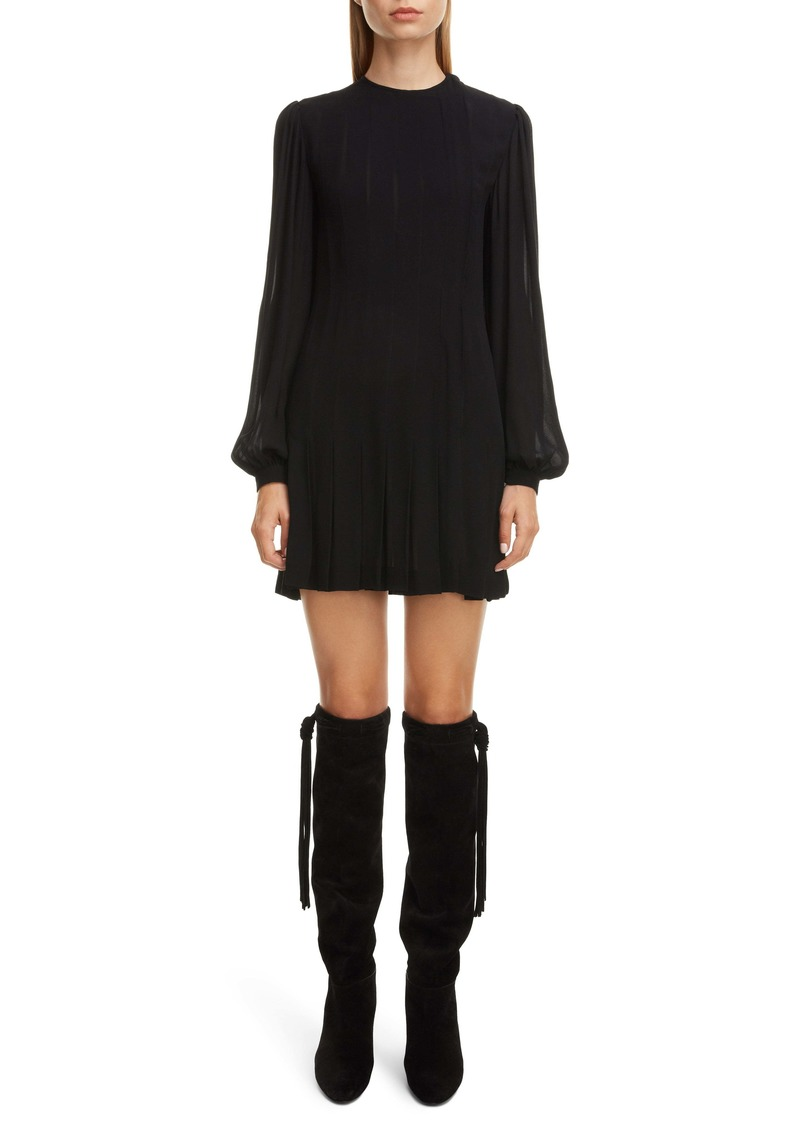 Saint Laurent Long Sleeve Pleated Crepe Shift Dress