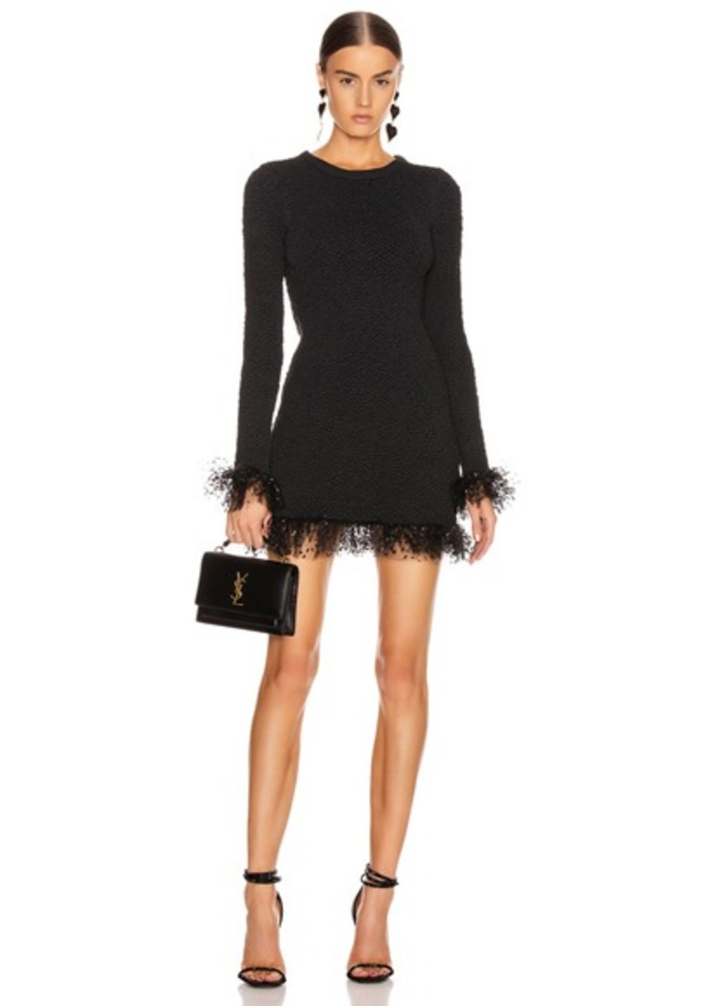 Saint Laurent Long Sleeve Tulle Mini Dress