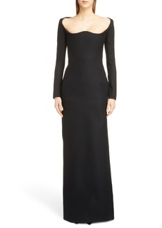 Saint Laurent Long Sleeve Wool Gown