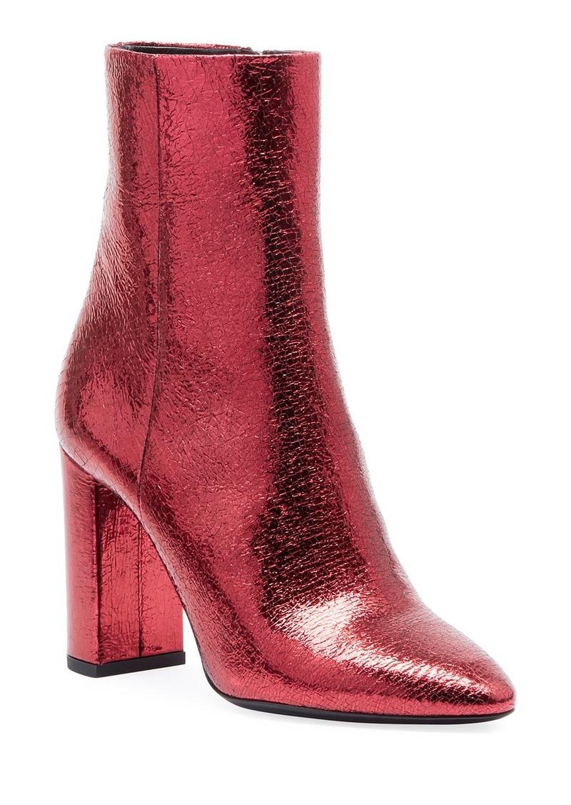 90c7b1d8e26 Lou Crackled Metallic Leather Mid-Heel Bootie