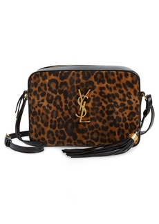 Saint Laurent Lou Leopard Print Leather Crossbody Bag