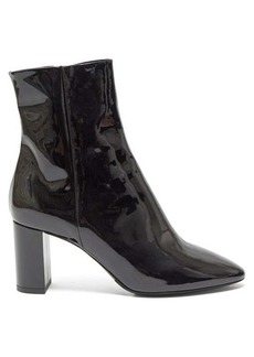 Saint Laurent Lou monogram plaque patent-leather boots