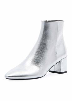 Saint Laurent LouLou Metallic Booties  Silver