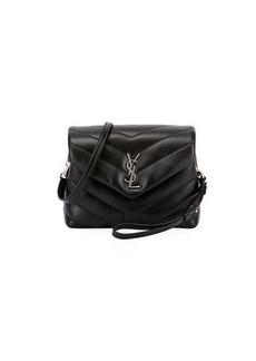 Saint Laurent Loulou Monogram YSL Mini V-Flap Calf Leather Crossbody Bag - Nickel Oxide Hardware