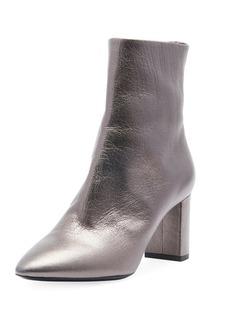 Saint Laurent LouLou Zip Booties  Gray Metallic