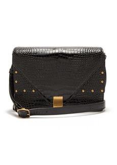 Saint Laurent Margaux crocodile-effect leather shoulder bag