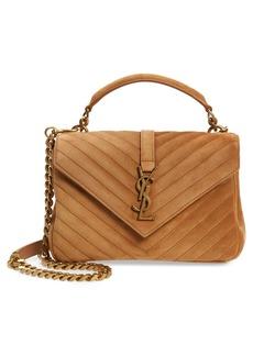 Saint Laurent Medium College Suede Shoulder Bag
