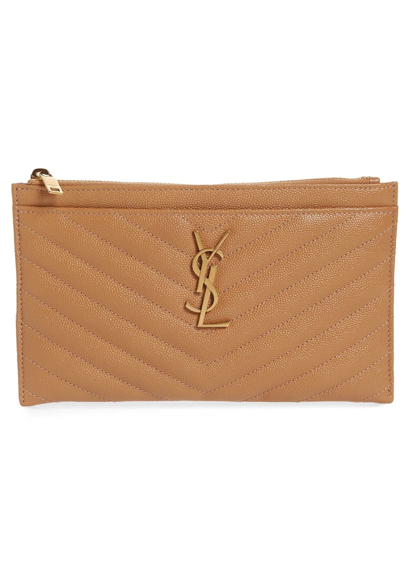 Saint Laurent Medium Niki Matelassé Calfskin Zip Pouch
