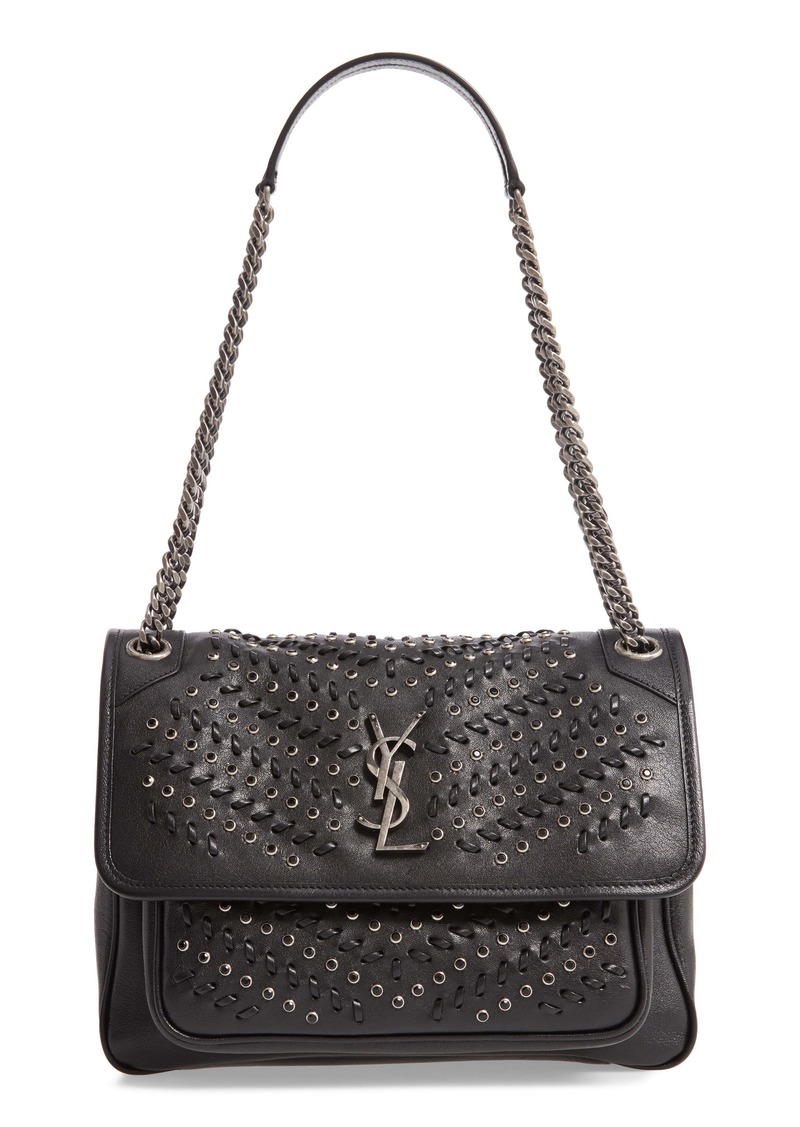 Saint Laurent Medium Niki Western Crystal Leather Shoulder Bag