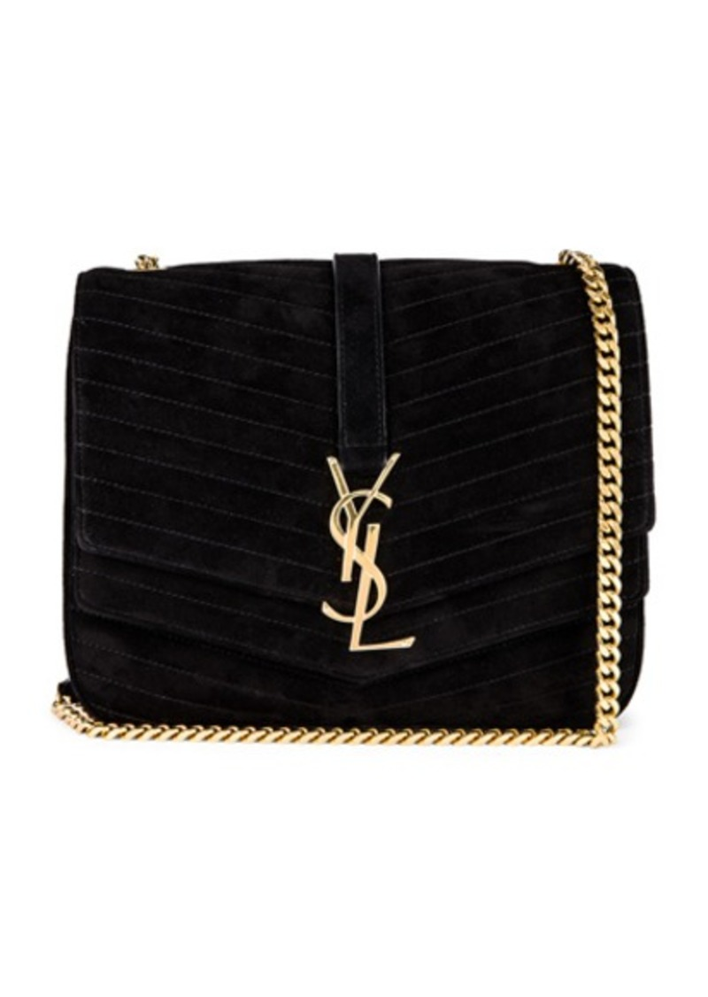 Saint Laurent Medium Sulpice Chain Suede Quilted Bag