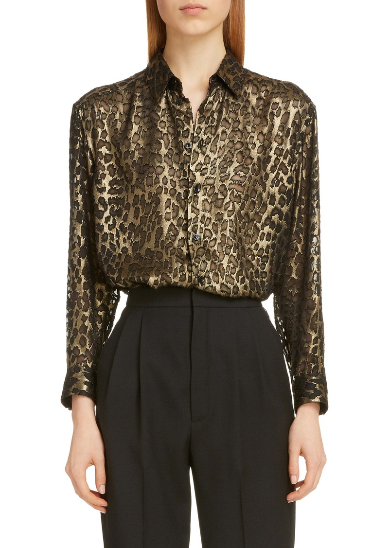 Saint Laurent Metallic Burnout Leopard Shirt