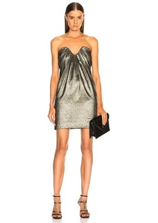 Saint Laurent Metallic Bustier Mini Dress