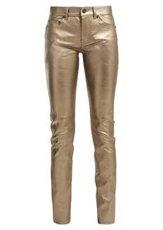 Saint Laurent Metallic leather trousers