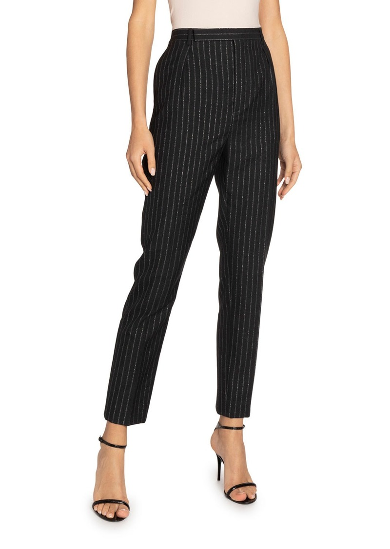 Saint Laurent Metallic Pinstriped High-Rise Trousers