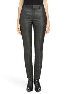 Saint Laurent Metallic Stretch Wool Slim Pants