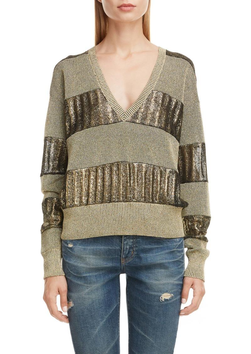 Saint Laurent Metallic Stripe Linen Blend Sweater