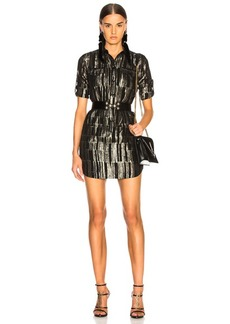 Saint Laurent Metallic Stripe Shirt Dress