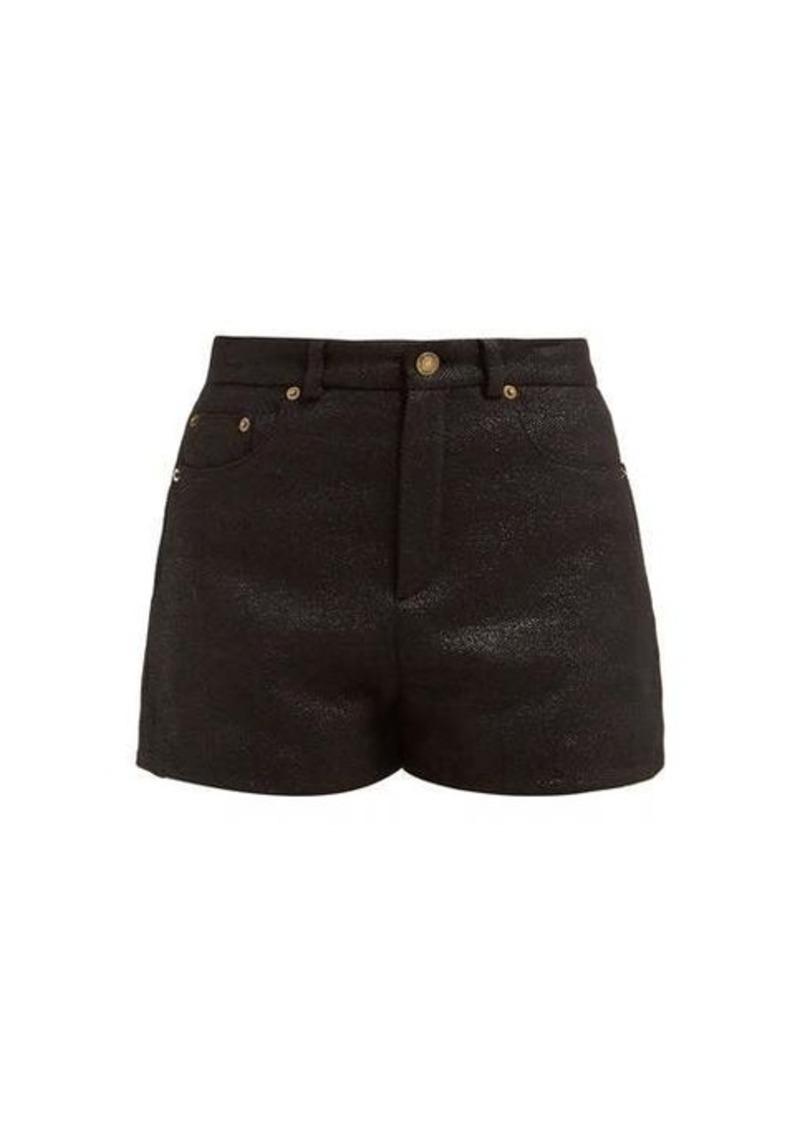 Saint Laurent Metallic wool-blend tweed lamé shorts