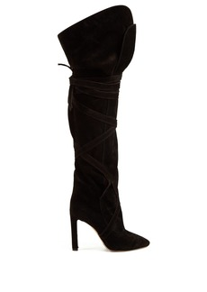 Saint Laurent Meurice wraparound suede boots