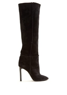 Saint Laurent Mica whipstitched knee-high suede boots