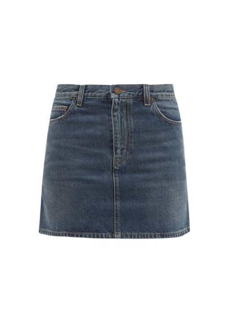 Saint Laurent Mid-rise denim mini skirt