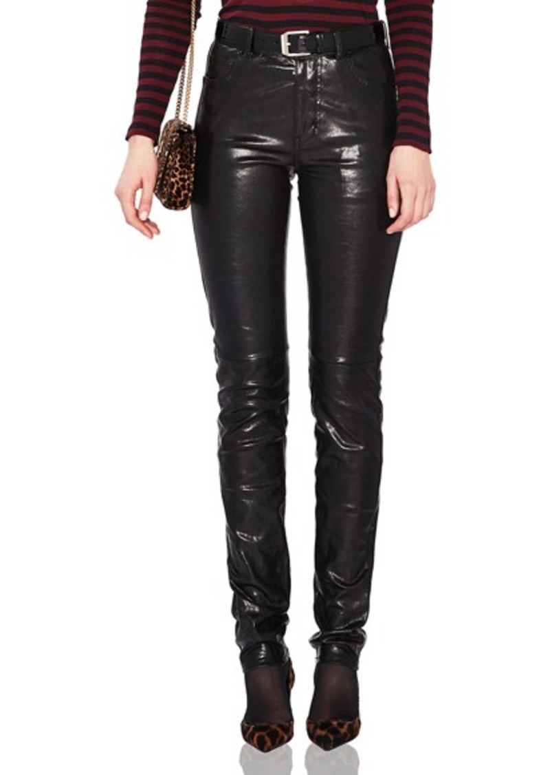 f66b1b29236 Saint Laurent Saint Laurent Mid Rise Leather Pants   Casual Pants