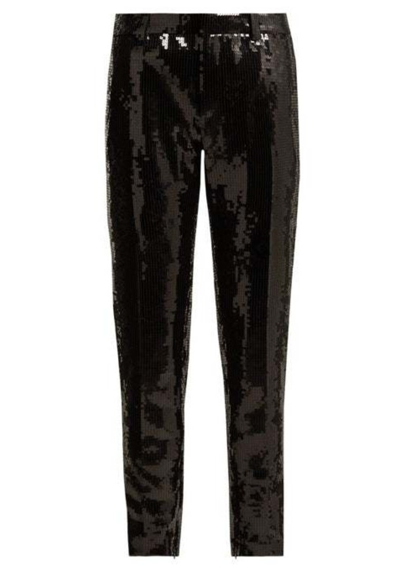 Saint Laurent Mid-rise sequinned satin trousers