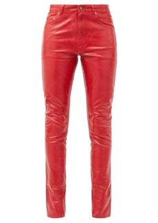 Saint Laurent Mid-rise vinyl-coated skinny-leg jeans