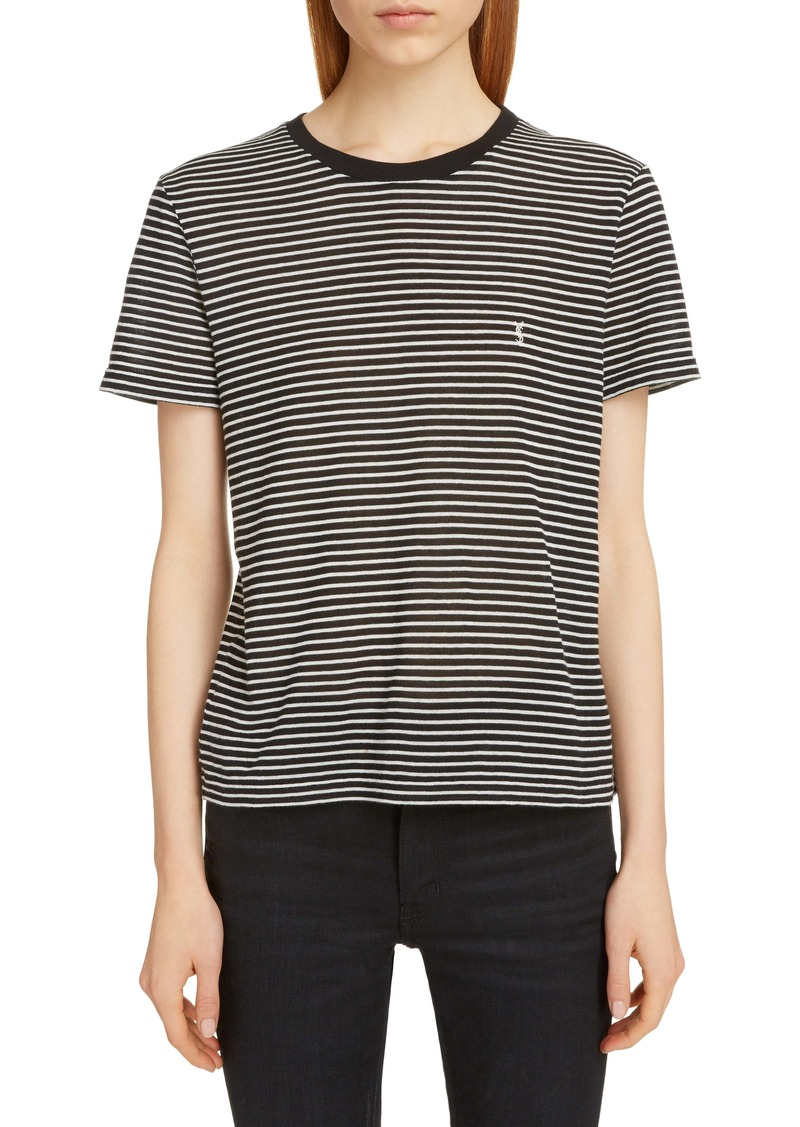Saint Laurent Mini Logo Stripe Tee