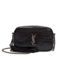 Saint Laurent Mini Lou Croc Embossed Leather Camera Bag
