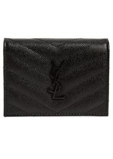 Saint Laurent Monogram Quilted Leather Flap Card Case