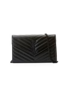 Saint Laurent Monogram YSL Matelassé Leather Wallet-on-Chain