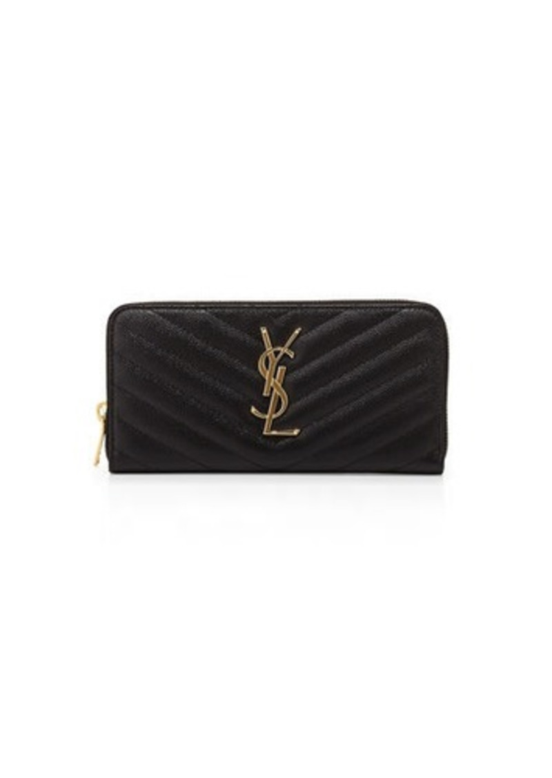 Saint Laurent Monogram YSL Matelasse Zip-Around Wallet
