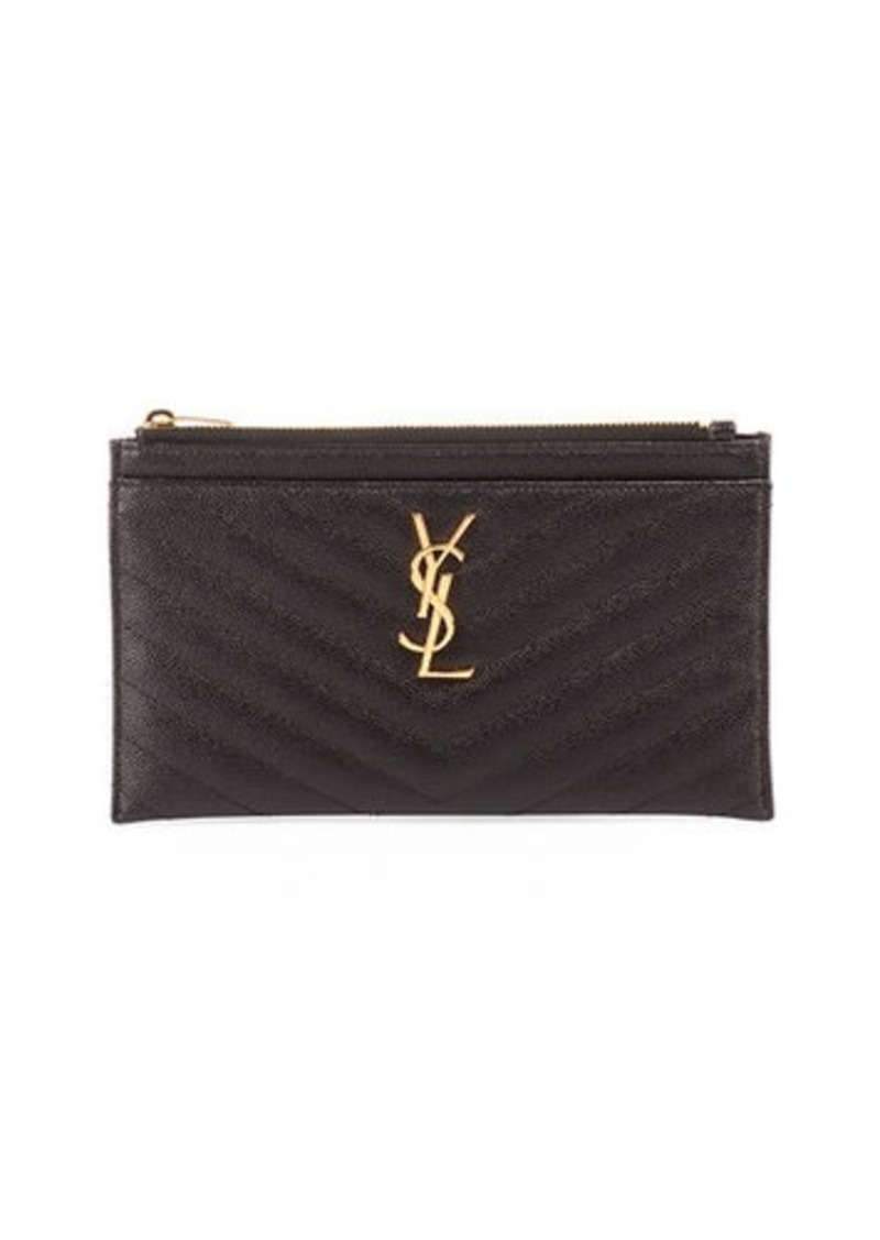 Saint Laurent Monogram YSL Matte Quilted Bill Pouch Wallet