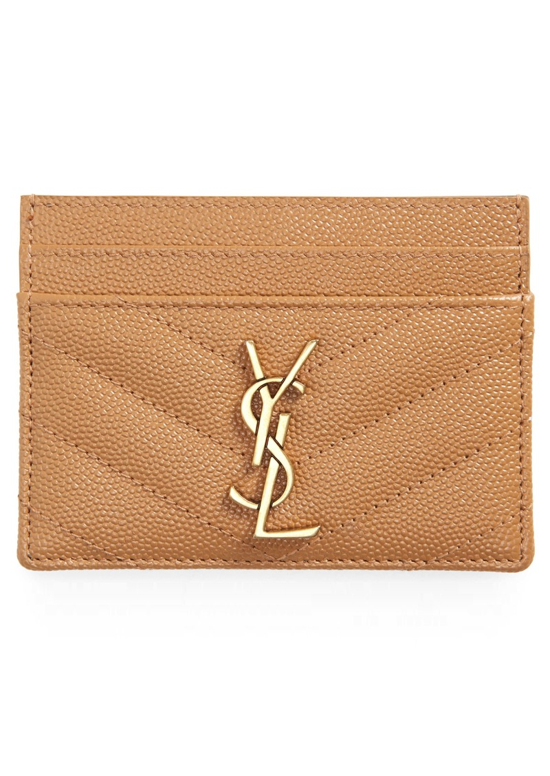 Saint Laurent Monogramme Pebbled Calfskin Card Case